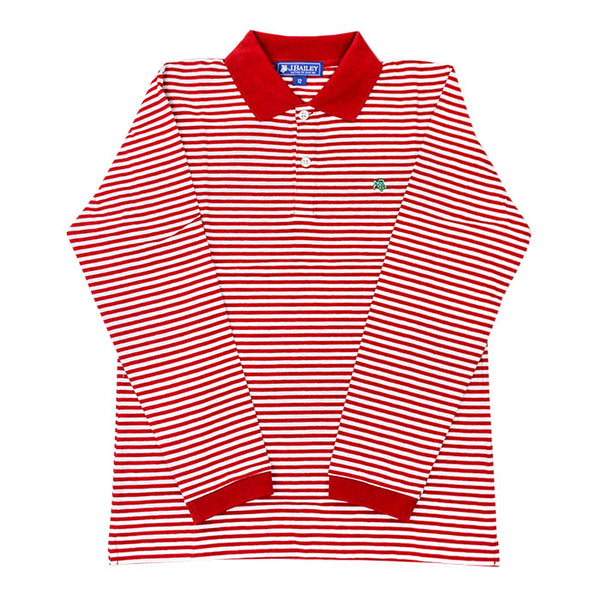 LS Striped Polo - Red/White