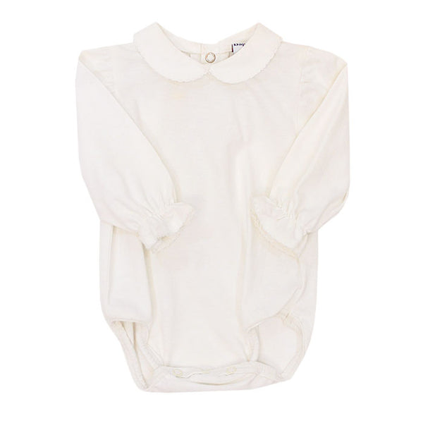 White Peter Pan Collar L/S Bodysuit - Girls Knit