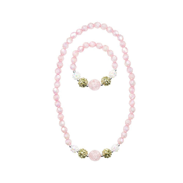 Pink Sparkle Necklace & Bracelet Set