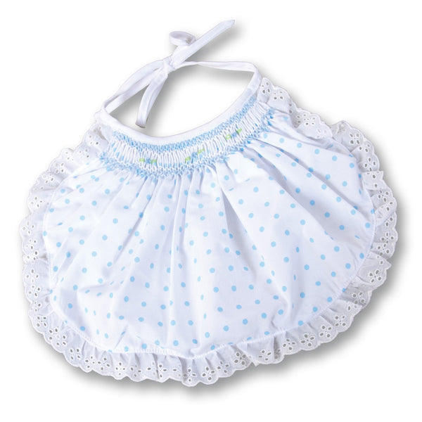 Polka Dot Smocked Bib - Blue