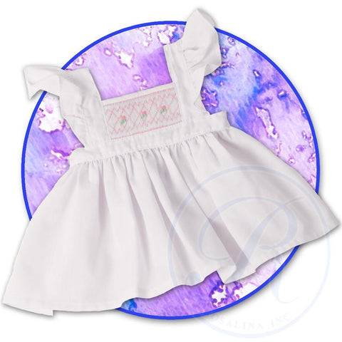 "18"" White Angel Sleeve Smocked Doll Pinafore"