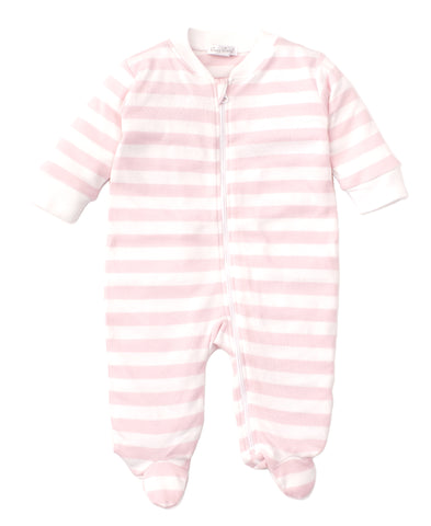 Broad Stripes Footie - Pink