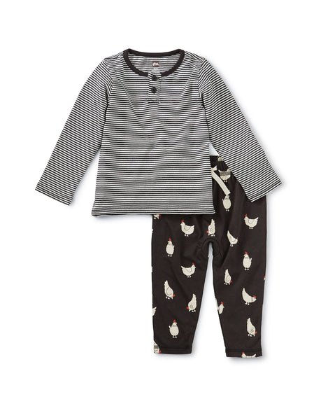 Mixed Print Henley Baby Set