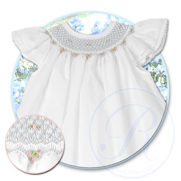 Angel Sleeve Bishop w/ English Smock w/ Lace - White w/ Blue