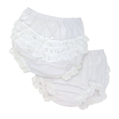 White Woven Ruffled Bloomers
