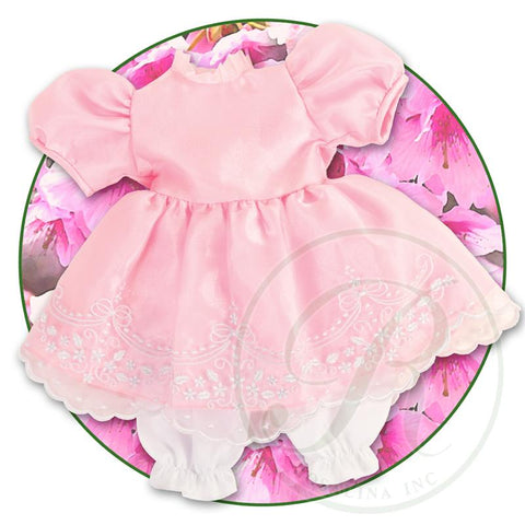 "18"" Pink Embroidered Organza Doll Dress"