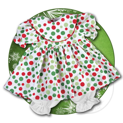 "15"" Doll Dress w/ Red & Green Dots"