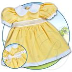 "18"" Yellow Gingham Pioneer Doll Dress"