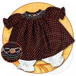 "10"" Doll Dress - Brown Smocked with Orange Dots"