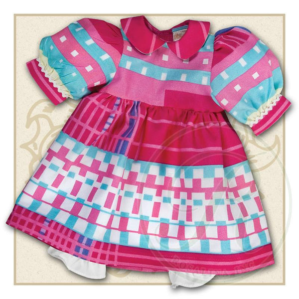 "18"" Pink Retro Print Doll Dress"