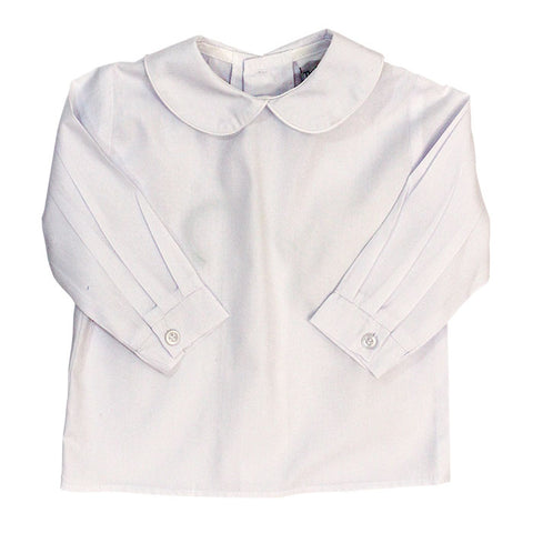 White Peter Pan Collar L/S Top - Boys (Buttons in Back)