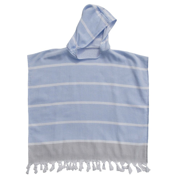 Kids Hooded Poncho - Blue