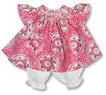 "Rosalina 18"" Aiyana Pink and Orange Dotted Swirl Smocked Angel Sleeve Doll Dress"