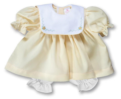 "15"" Bullion Flowers Embroidered Yellow Doll Dress with White Collar"