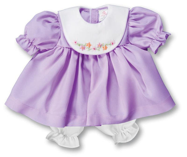 "18"" Bullion Embroidered Purple Doll Dress with White Collar"
