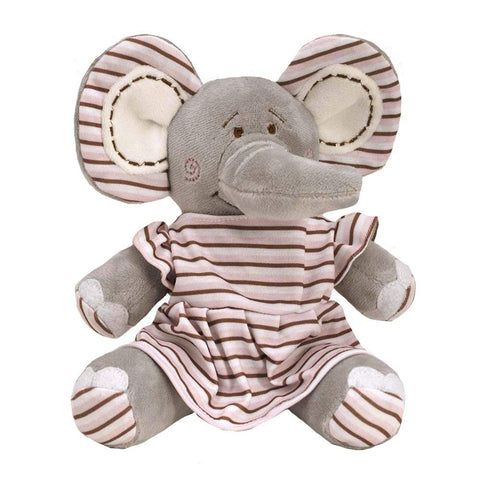 "10"" Elephant w/ Brown & Pink Stripe Dress"