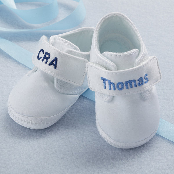 Satin Monogram Oxford Crib Shoe