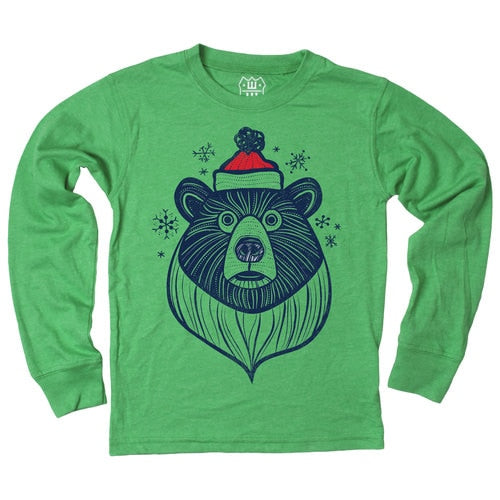 Santa Bear LS Tee - Irish Blend