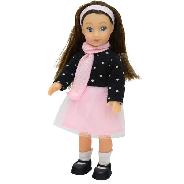 "6.5"" Mini Poseable Doll - Polka Dot Top & Pink Skirt"