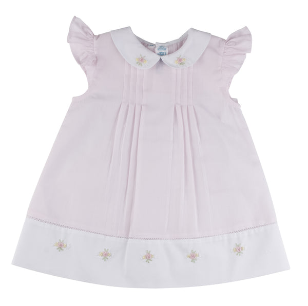Angel Sleeve Dress with Collar/Embroidered Rosebuds