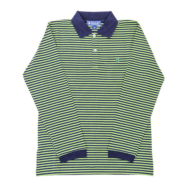LS Striped Polo - Navy/Leaf
