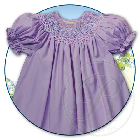 Purple Smocked Dress with Pink Rosebuds