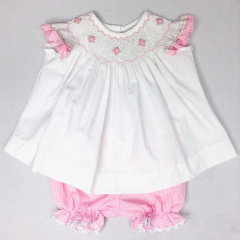 Pink Check Angel Wing Sleeve Bloomer Set