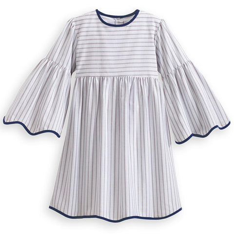 Scalloped Blake Dress - Navy Raya Stripe