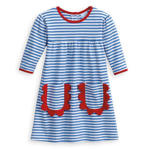 Sinclair Pima Dress - Royal/White Stripe