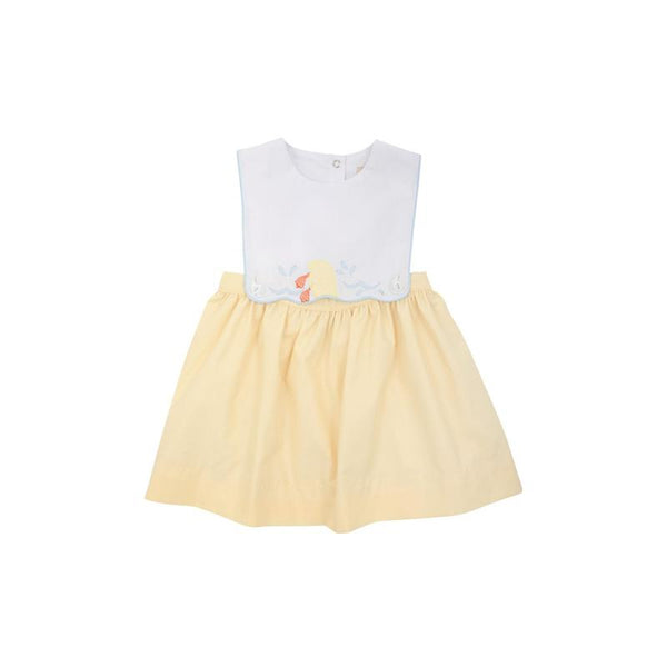 Brady Button In Dress w/ Duck Applique - Worth Ave White/Bellport Butter Yellow