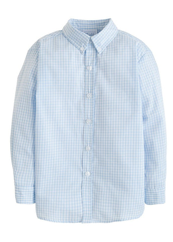 Button Down Shirt - Lt Blue Seersucker Gingham