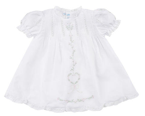 White Dress with Floral and Heart Embroidery
