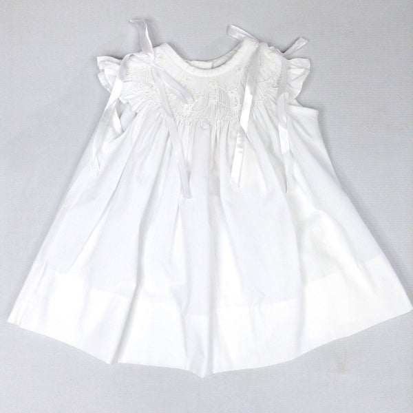 White Angel Wing Bow Pearl Bishop Dress