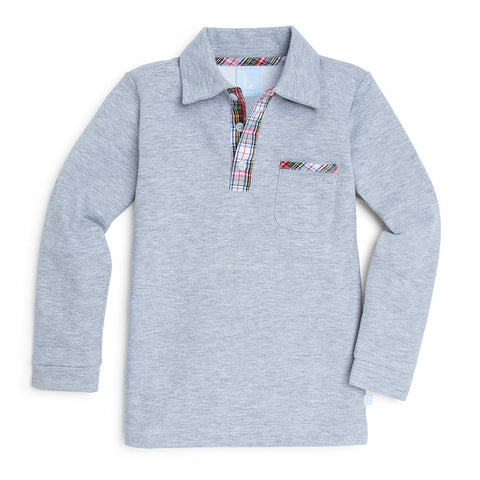 Campbell Polo Tee - Grey French Terry