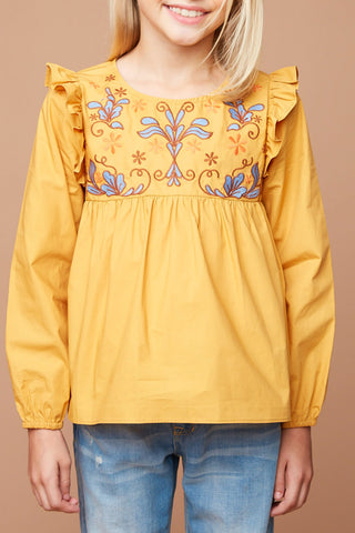 LS Embroidered Yolk Top