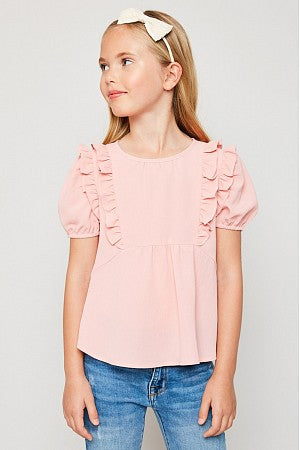 Short Sleeve Ruffle Baby Doll Top