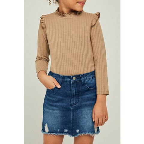 Ribbed Ruffle Mock Neck Top - Chestnut