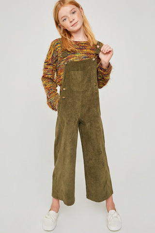 Wide Leg Corduroy Overalls - Olive
