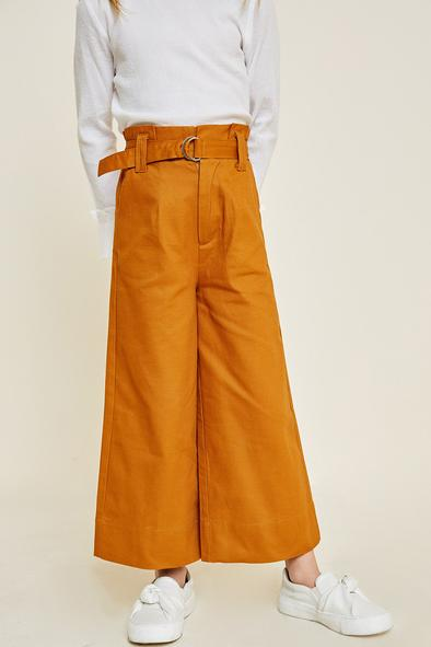 Cropped Wide Leg Belted Paperbag Trousers - Ginger