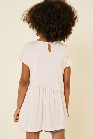 Lace Peasant Top - Pink