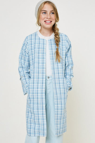 Tweed Duster Coat - Blue