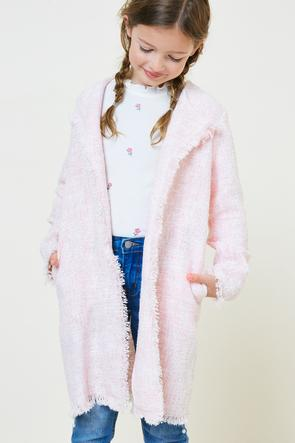 Frayed Tweed Duster Coat - Pink