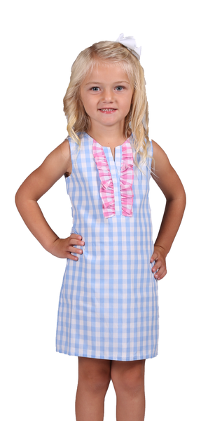 Kelly Dress - Sky Gingham