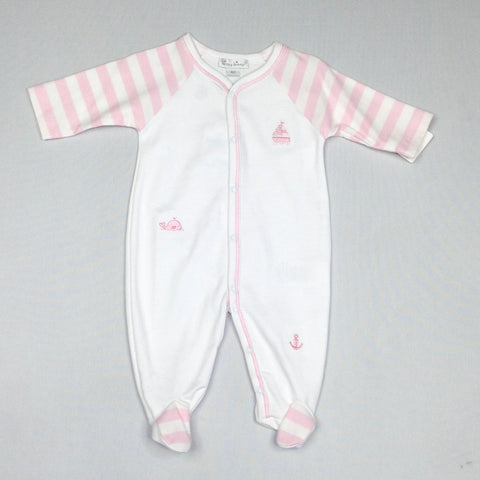 White Footie with Pink Stripe Sleeves and Nautical Embroidery