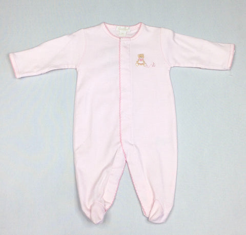 Pink Footie with Embroidered Brown Bear