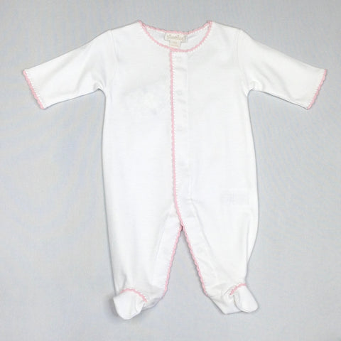 White Premier Basics Footie with Pink Trim