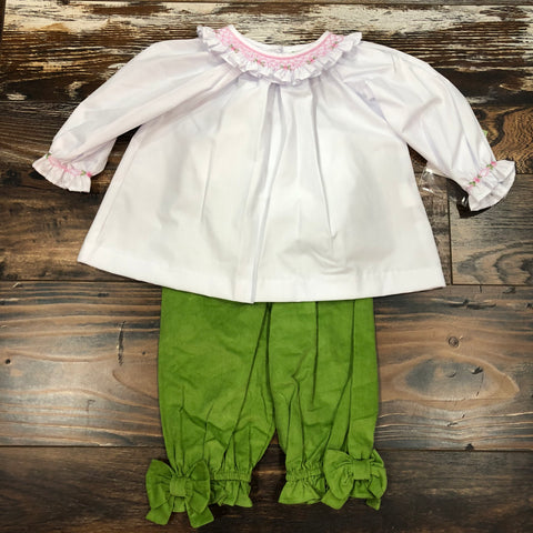 Smocked Blouse with Green Corduroy Bow Pant