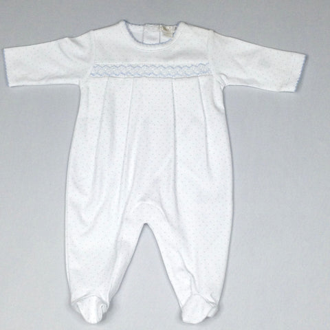 White Smocked Footie with Blue Mini Dots