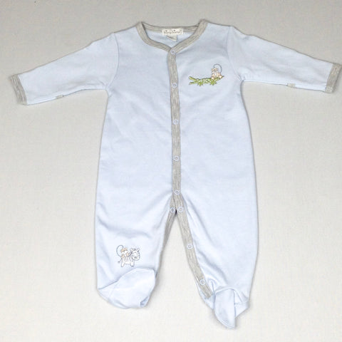 Blue Footie with Grey Trim and Zoo Embroidery