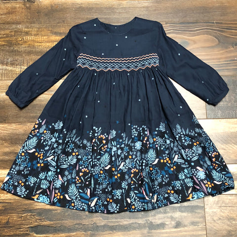 Navy Twill Print Float Dress with Border